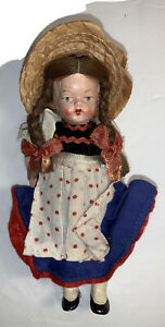 """Antique 6"""" Girl Doll- Original Dress -Made in GERMANY ES M Rare Collectible!"""