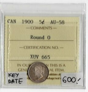 Canada Key Date 1900 5 Cents ICCS Certified AU-58 XUV 665 Round 0