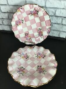 "2 Vtg Mackenzie Childs Rose Petal Ruffle Pink 9"" Plate 1997 Checkered Gold"
