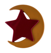 M MISSONI Resin Crescent Moon and Star Brooch Red Gold Pin 0650