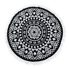 100% Cotton Terry Velour 150cm Sand Repellent Round Beach Towel Throw in Black