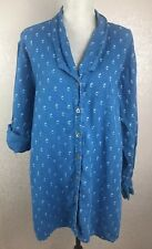 FLAX SZ M Med Blue White Printed Top Linen Blouse Tunic