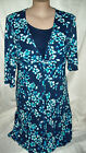 Blue floral 3/4 sleeve V neck waterfall front DRESS size 20 NEW Stretch comfort