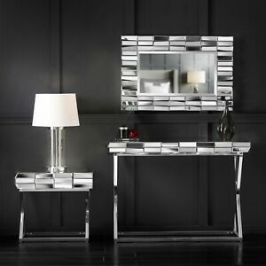 Silver Wall Mirror Mirrored Console Side Table Glass Living Room Furniture