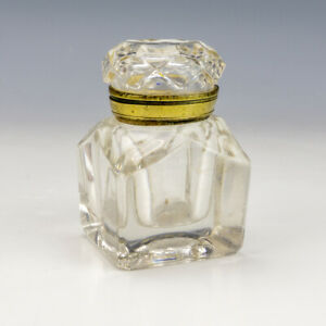 Antique English Clear Glass - Brass Mounts Lidded Inkwell Travel Ink Bottle