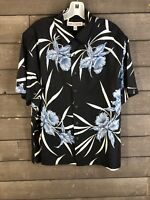Quiksilver 2048 Black Blue Hawaiian Print Button Down Shirt Men's M