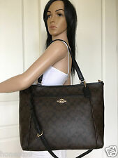 NWT COACH LARGE BROWN BLACK SIGNATURE PVC LEATHER SHOULDER CROSSBODY BAG PURSE