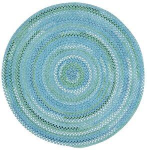 Capel Rugs Waterway Soft Cotton Chenille Round Braided Rug Deep Blue Sea #400
