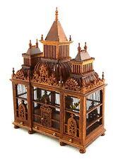 Dolls House Ornate 3 Turret Walnut Wood Victorian Bird Cage with Birds Miniature