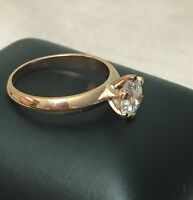Solid 14K Gold 1 CT ROUND CUT DIAMOND SOLITAIRE ENGAGEMENT RING