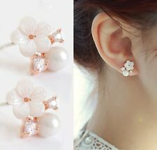 Rose Gold Sterling Silver Daisy Cubic Zircon Pearl Sea Shell stud Earrings S11