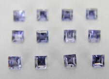 1.15 Carats Natural Set of Twelve Blue Iolite Faceted Gemstone 2.5 mm Square