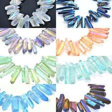 10 pcs  Druzy Rainbow Titanium Quartz Flame Aura Crystal Stick Beads