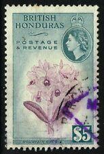 SG 190 BRITISH HONDURAS 1953 - $5 PURPLE & SLATE - USED