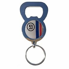 HERBIE 53 VW BEETLE BEER DRINK BOTTLE CAP OPENER CHROME KEYRING