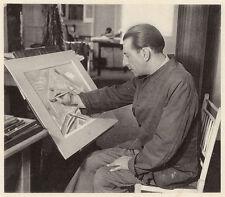 Paul Nash sul lavoro in Hampstead studio, Vintage Stampa Fotografica 1948. SUPERBA
