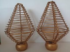 Pair of Gold Colour Metal Cage Finials End For 28mm Curtain Pole