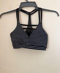 Victoria's Secret Sport Black And White Striped Strappy Back Sports Bra Size S/P