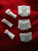 """Doll Clothes (3) white felt Mini Diapers + 3 socks for OOAK Polymer Clay Baby 5"""""""