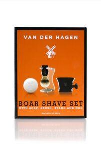 VAN DER HAGEN Complete Shave Set Soap Boar Brush Stand Bowl