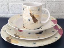 Carol Endres PURE ART Folk PRIMITIVE ANGELS TRUMPETS Mug PLATE Bowl 4 PC SET