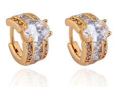18 k Gold Plated Jewellery Small Girls Women White Zircons Hoops Earrings E722