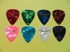 8 x Thin Fender Premium Celluloid Guitar Picks Mixed Bright Colours Top Value