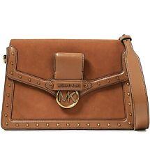 Michael Kors Bag Handbag Jessie LG Flap Shoulder Suede Luggage New