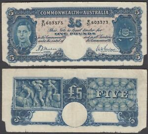 Australia 5 Pounds ND 1939 (VG) Condition Banknote P-27a KGVI RARE