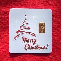1/50 th OZ GOLD TGR MERRY CHRISTMAS BULLION Bar in Assay IDEAL STOCKING STUFFER