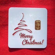1/50 th OZ GOLD TGR MERRY CHRISTMAS bar BULLION in Assay IDEAL STOCKING STUFFER