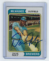 1974 Dave May signed card Topps #12 AUTO Autographed Milwaukee Brewers