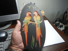 "New Listing Plaster Oval Parrot or Bird Plaque 11"" x 5.5"" Vintage old estate chalkware"