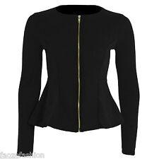 New Women Frill Shift Fit Peplum ZipUp Party Blazer Jacket Coat Ladies Size 4-14