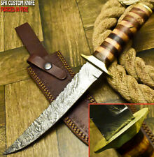 SFK CUTLERY RARE CUSTOM HANDMADE DAMASCUS ART HUNTING BOWIE KNIFE OLIVE WOOD