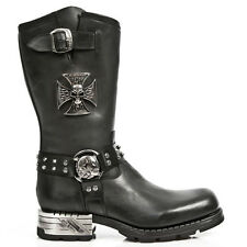 Newrock New Rock M.MR030-S1 Strap Skull Metalic Black Biker Goth Leather Boots
