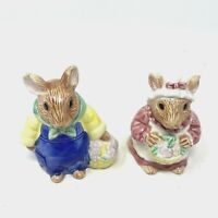Vintage Country Mice With Flowers Salt And Pepper Shakers Hand Painted Porcelain