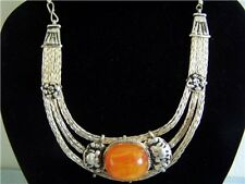 Unique Elegant Vintage Style Tibetan Silver Big Beeswax Amber Necklace