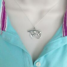 Beautiful Egyptian Eye Of Horus Silver Charm Necklace.