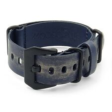 StrapsCo Blue Ultra Distressed Leather Watch Milatary Band Strap w/ Black Buckle