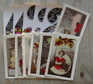 12 x Vintage Unused Colour Birthday Postcards – 1920's 1930's – 2nd 3rd 4th 5th