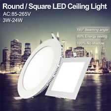 4/9/12/15/18/24W FLAT CONCEALED CEILING BULB LED PANEL LIGHTS KIT ROUND/SQUARE