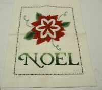 Finished Completed Cross Stitch Piece Christmas Poinsettia Noel Unframed 9 x 12