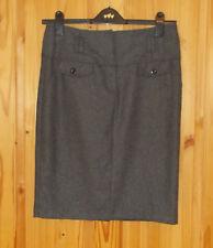 DOROTHY PERKINS grey WOOL winter knee length pencil straight skirt 12 40 BNWT