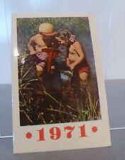 Soviet, USSR 1971 mini calendar children in a river fishing