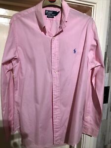 """Ralph Lauren Polo Mens Pink Long Sleeve Shirt Size Medium 42"""" Chest"""