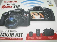 New Canon Rebel EOS T6 Digital SLR Kit 18-55MM IS II + 75-300MM Lenses+Bag+SDHC