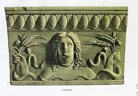 Ancient Rome Terracotta Tile-Plate XVI-Orig Folio Lithograph Campana Relief 1851