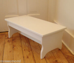 """Handcrafted Heavy Duty Step Stool 24"""" x8.5 Wood Kitchen Bedside, White or custom"""