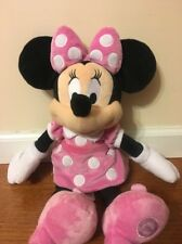 """Disney Minnie Mouse Pink Plush Toy 19"""" Authentic Disney Patch Soft Doll 19"""" Tall"""